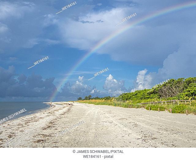 Rainbow over Sanibel Island Lighthouse Beach Park on the Gulf of Mexico on Sanibel Island Florida