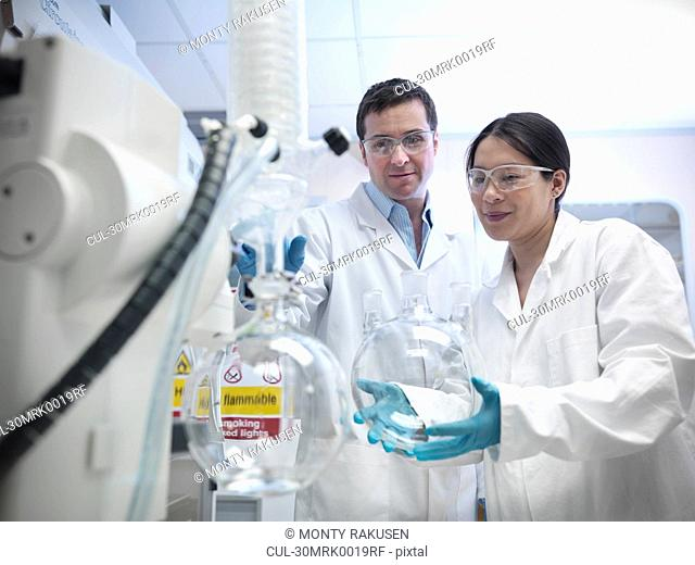 Scientists working with vacuum still
