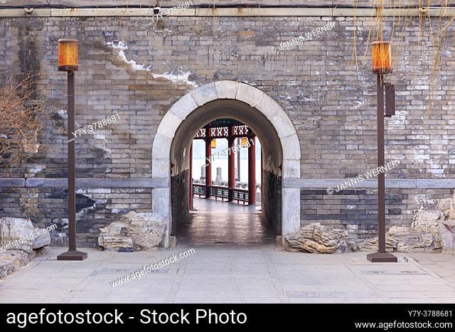 Historic gatehouse at Behai park in Beijing, China