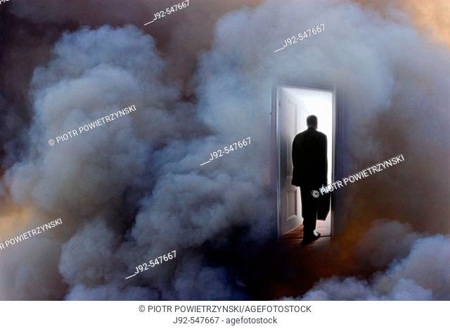 Business person with briefcase entering door, rear view (Composite)
