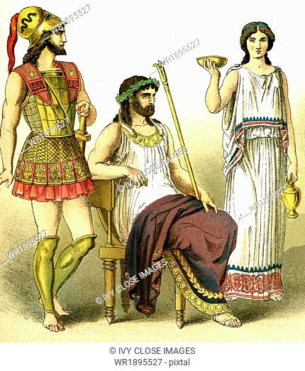 The figures represent ancient Greeks. From left to right, they are: a warrior, a king, and a woman of the upper class