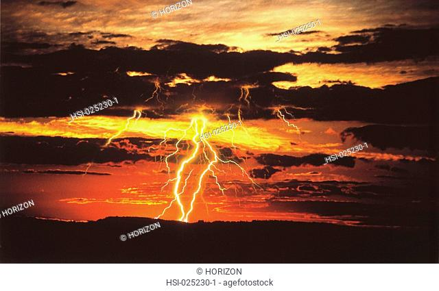 Environment & nature, Weather, Lightning at sunset over ridge, Blue Mountains, New South Wales, Australia