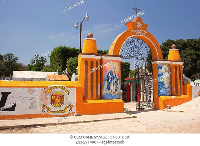 Colorful entrance of the cemetery in the town center, Oxcutzcab, Convent Route, Yucatan Province, Mexico, Central America