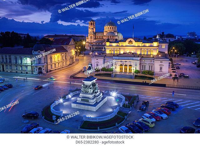 Bulgaria, Sofia, Ploshtad Narodno Sabranie Square, Statue of Russian Tsar Alexander II, National Assembly building, and Alexander Nevski Cathedral