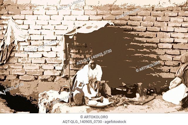 Preparing tortillas in Aguas Calientes, Mexico, Jackson, William Henry, 1843-1942, Cookery, Tortillas, Mexico, Aguascalientes (State), Aguascalientes, 1880