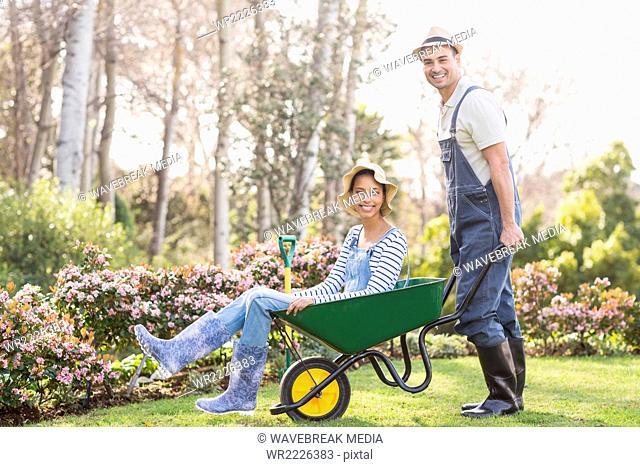 Cute couple doing some gardening activities