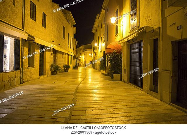 Alcudia walled village in Majorca island on October 29, 2016 in Spain Nightscape