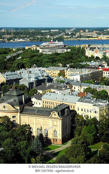 View from the Skyline Bar, Reval Hotel Latvija on the Esplanade, Latvium National Museum of Arts, makslas muzejs Art Museum and Kronvalda Park, Riga, Latvia