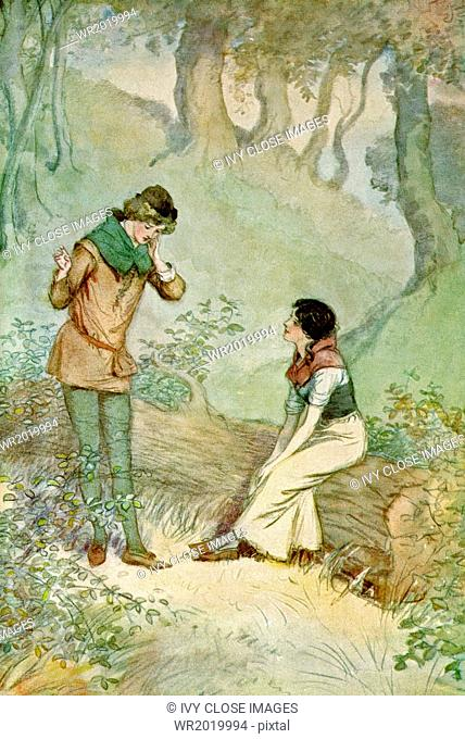 This illustration by Hugh Thomson, dating to 1909, depicts a scene from Shakespeare's comedy As You Like It, Act 3, Scene 2