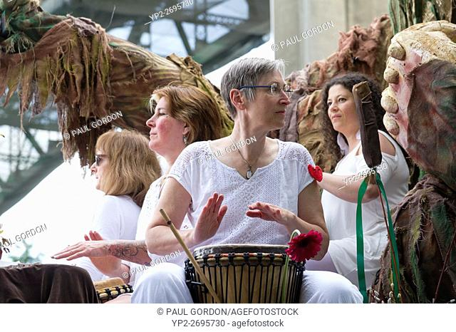 Seattle, Washington: Cascadia Now Ensemble under the Aurora Bridge at the Summer Solstice Parade and Festival. The annual event is produced by the Fremont Arts...