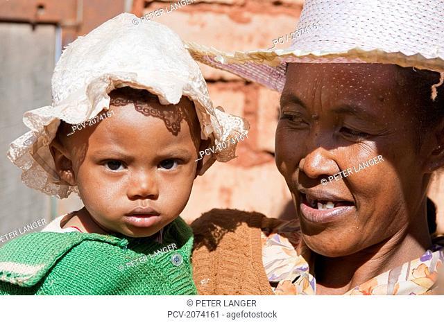 Mother And Her Girl In Ambalavao, Fianarantsoa Province, Madagascar