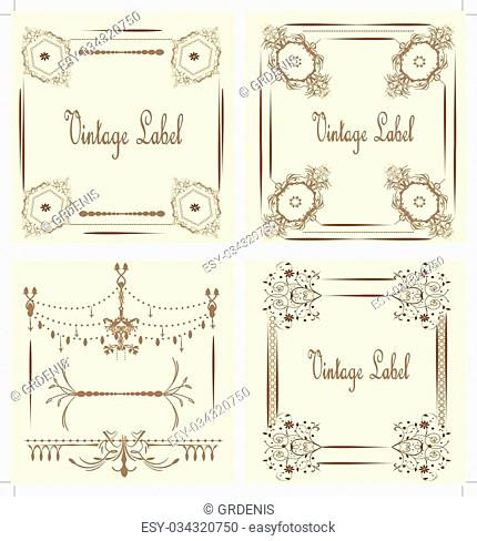 Vintage labels with ornate elegant abstract floral design, on yellow. Vector illustration