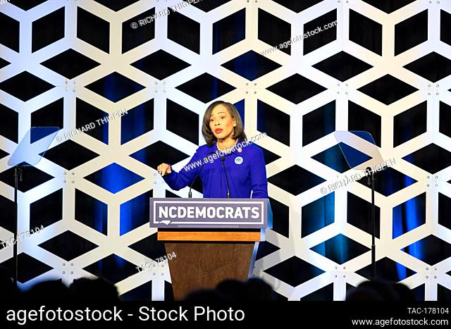 Delaware Congresswoman, Lisa Blunt Rochester, speaks at the Blue NC Celebration at the Hilton Charlotte University Place Hotel on February 29, 2020 in Charlotte