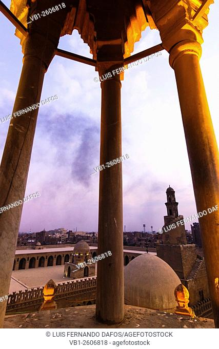 Ibn Tulun mosque and minaret at sunset. Cairo, Egypt