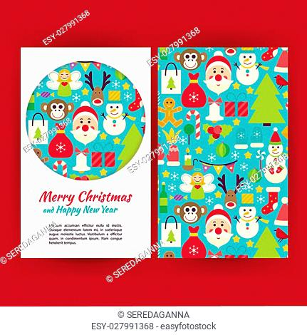 Happy New Year Banners Set Template. Flat Style Vector Illustration of Brand Identity for Merry Christmas Promotion. Colorful Pattern for Advertising