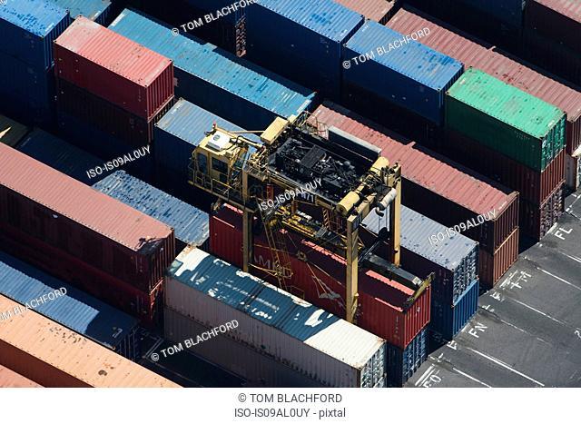 Aerial view of cargo container being retrieved, Port Melbourne, Melbourne, Victoria, Australia