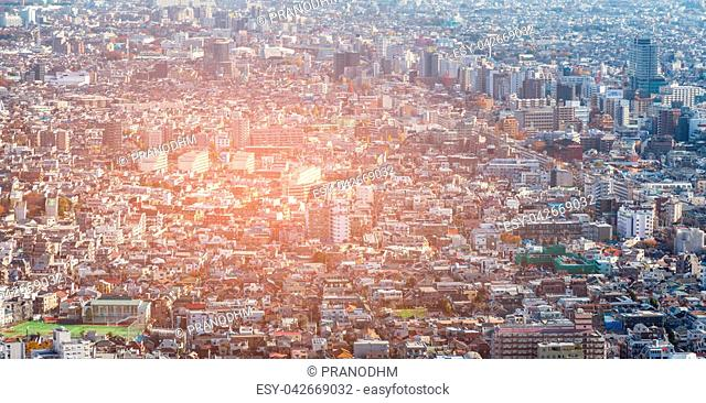Tokyo city residence downtown aerial view, cityscape background, Japan