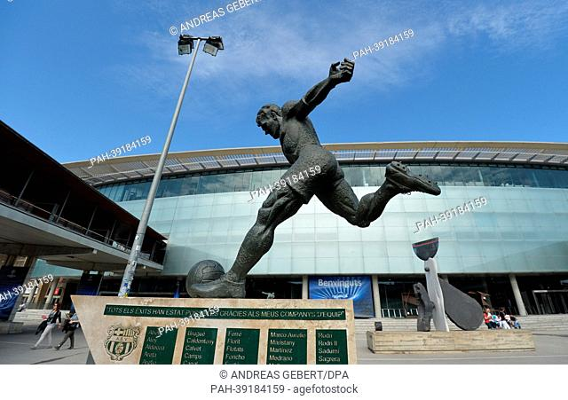 A statue of soccer player Laszlo Kubala Stecz is pictured outside of Camp Nou Stadium in Barcelona,Spain, 30 April 2013