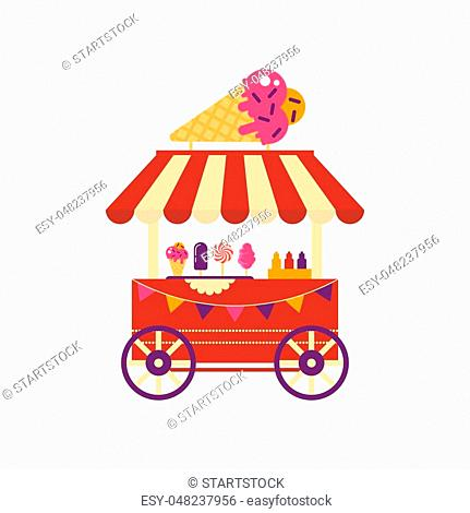 Ice cream cart on wheels with ice cream cone isolated on white background. Summer shop with frozen food sundae, cotton candy, different ice cream