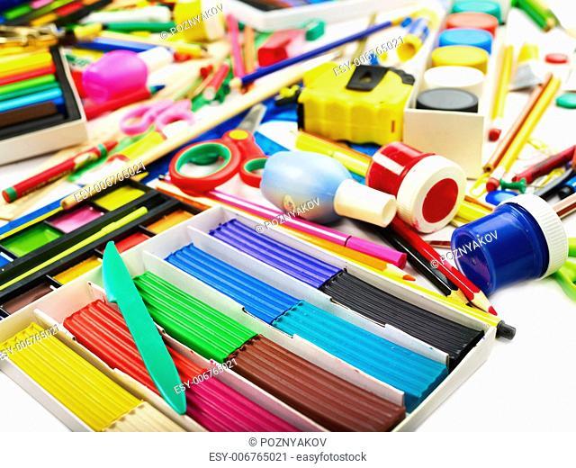 Background of group art school supplies