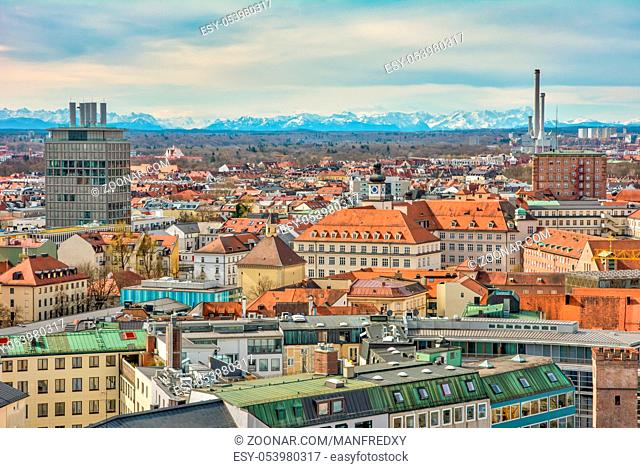 Aerial view over the city of Munich (Bavaria, Germany)