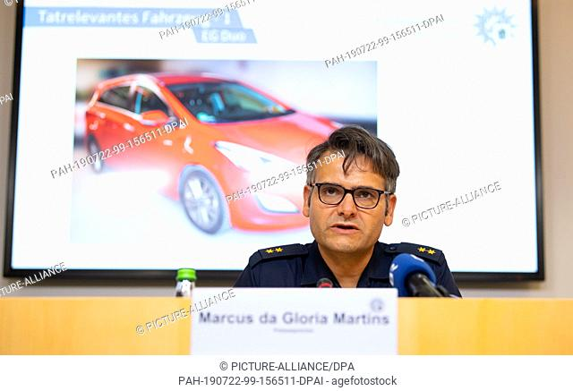 22 July 2019, Bavaria, Munich: Marcus da Gloria Martins, Press Officer of the Munich Police, attends a press conference. A 41-year-old girl and her daughter...