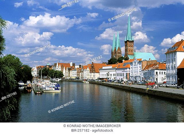 Upper trave river, Luebeck, Schleswig Holstein, Germany
