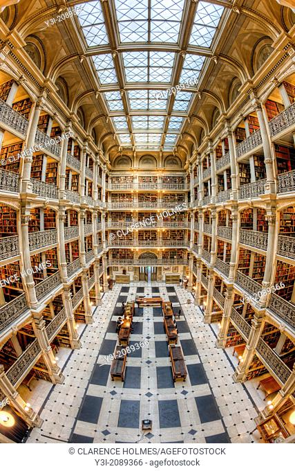 The beautiful interior of the George Peabody Library, a part of Johns Hopkins University, in Baltimore, Maryland. The building was opened to the public in 1878