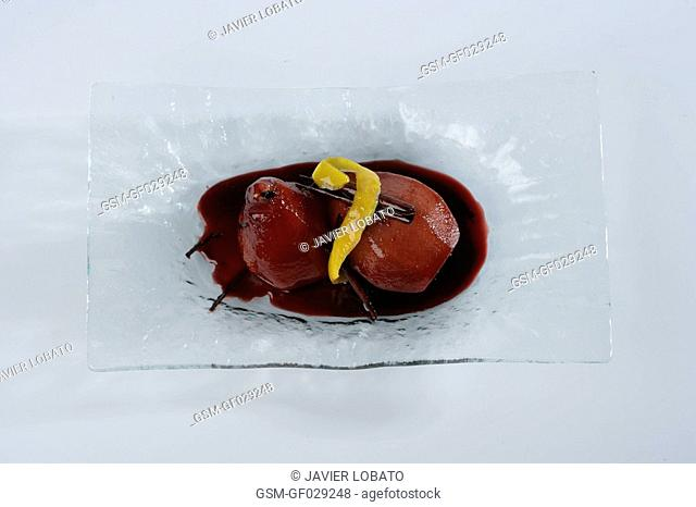 Pears boiled with red wine white background