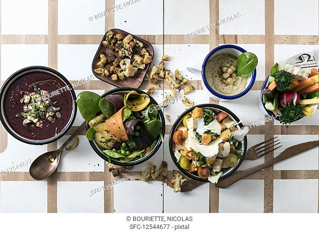 Various bowls and croutons