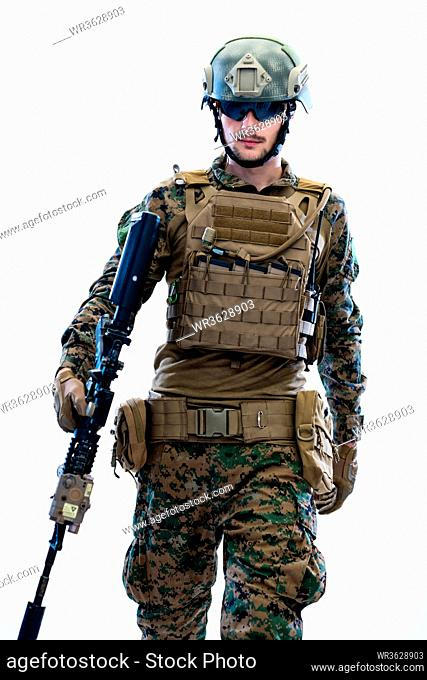 american marine corps special operations modern warfare soldier with fire arm weapon and protective army tactical gear ready for battle