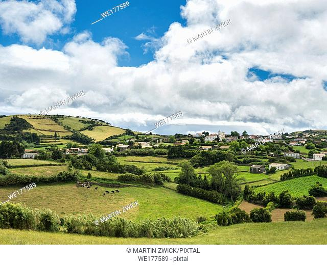 Landscape near Santo Antao at the eastern tip of the island. Sao Jorge Island, an island in the Azores (Ilhas dos Acores) in the Atlantic ocean
