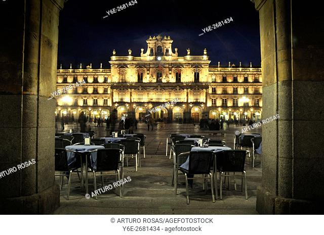 Night shoot in the Plaza Mayor of Salamanca, Spain