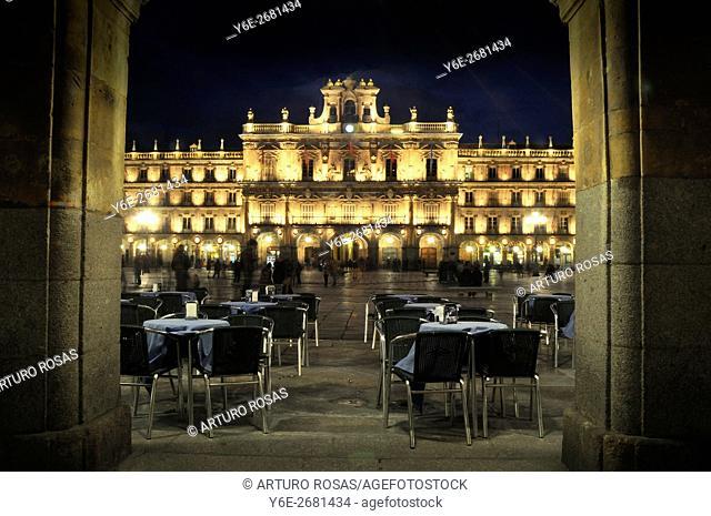 Night shoot in the Plaza Mayor of Salamanca, Spain