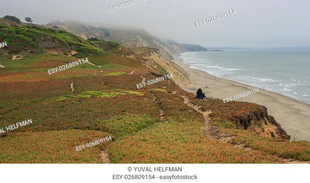High bluffs on the most western edge of San Francisco, Fort Funston, on a summer foggy day