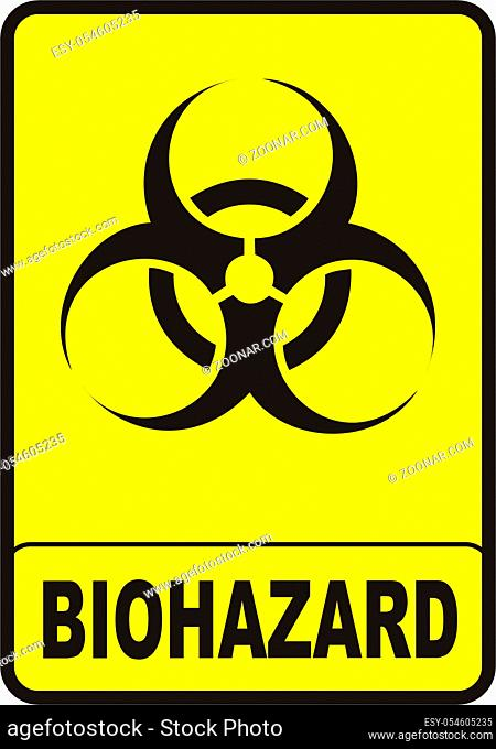 vectorial image biohazard warning color sign with yellow background