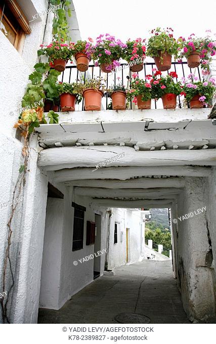 Street scene at Capileira village, Las Alpujarras, Andalucia, Spain