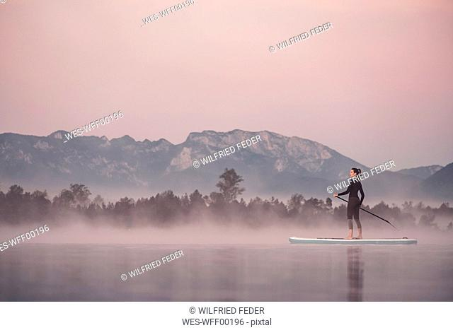 Woman stand up paddling on lake Kirchsee at morning mist, Bad Toelz, Bavaria, Germany
