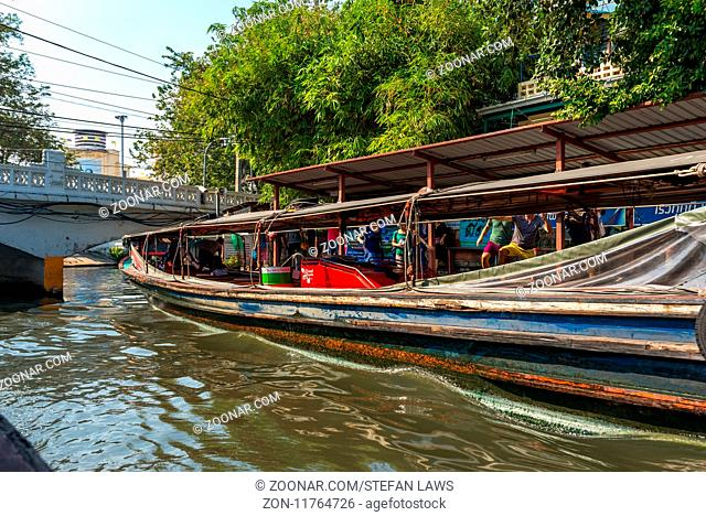Major ferry stop on the canal. The Khlong Saen Saep boat service is a water bus operating on the Saen Saep Canal in Bangkok through the city traffic-congested...
