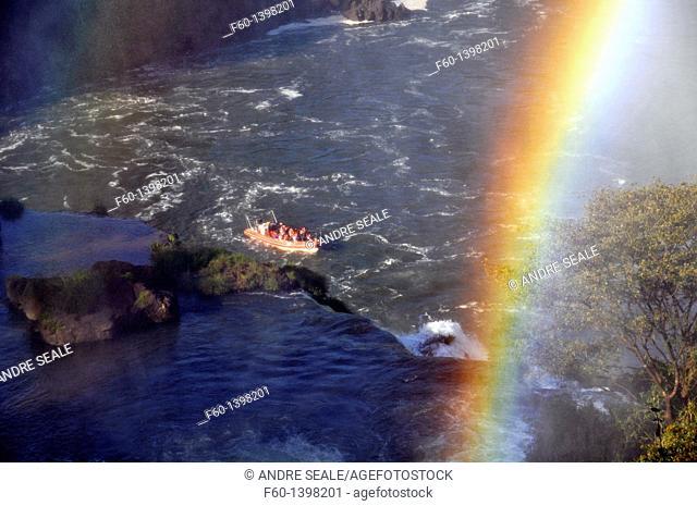 Macuco safari speed boat and rainbow, Iguassu falls, Iguazu national park, Argentina