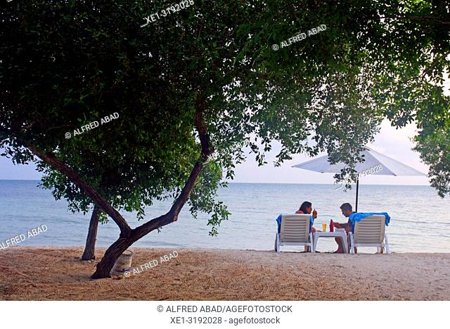 trees and sunbathers on the beach, Barú Peninsula, Caribbean Sea, Colombia