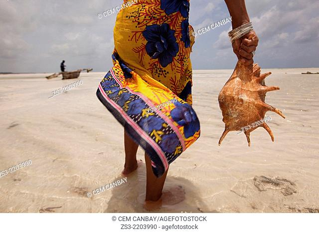 Woman holding a sea shell, Jambiani, Zanzibar Island, Tanzania, Indian Ocean, East Africa