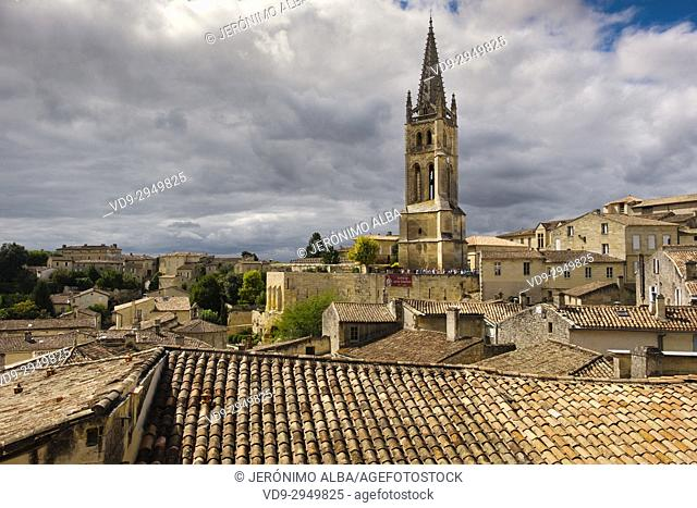 Panoramic view, Saint-Emilion Bordeaux wine region. Aquitaine Region, Gironde Department. France Europe