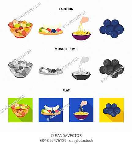 Assorted nuts, fruits and other food. Food set collection icons in cartoon, flat, monochrome style bitmap symbol stock illustration
