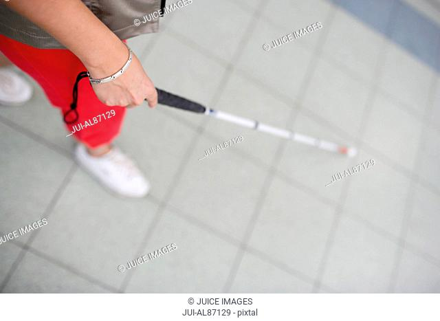 High angle view of blind woman