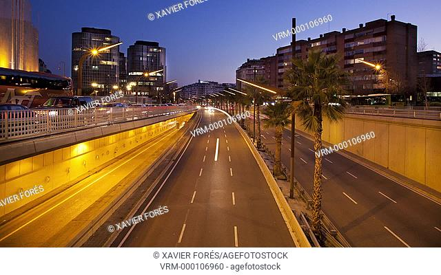 Ronda del Mig avenue in Barcelona city, Spain