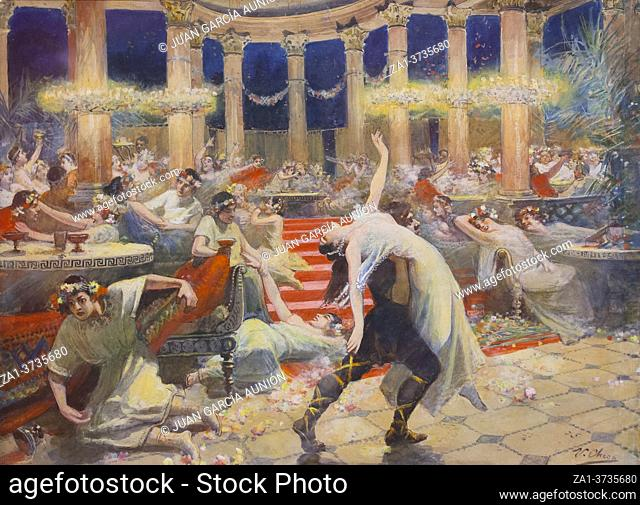 Nero feast. Quo Vadis novel scene. Painted by Ulpiano Checa in 1901. Local Museum of Colmenar de Oreja, Madrid, Spain