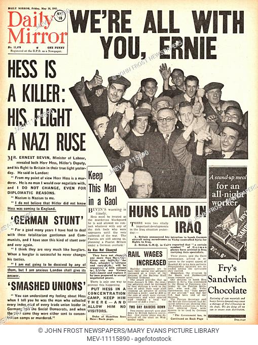 1941 front page Daily Mirror Rudolf Hess files to Britain and Ernest Bevin says it is a Nazi ruse
