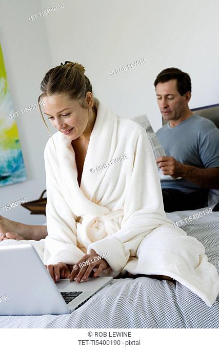 Mature couple in bedroom