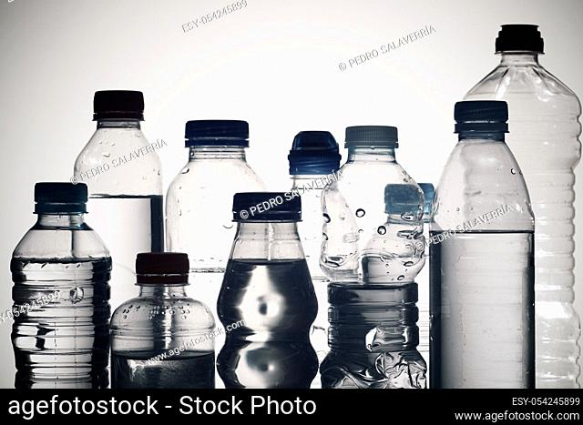 Water bottles and white background